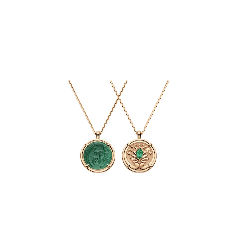 Légende de Chaumet malachite and emerald small model pendant  - Pink Gold - Chaumet